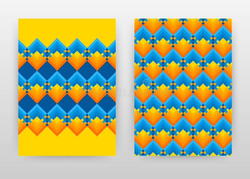 Informe anual azul alaranjado amarelo geométrico do projeto de negócio da textura, folheto, inseto, cartaz Vetor colorido geom?tr ilustração royalty free