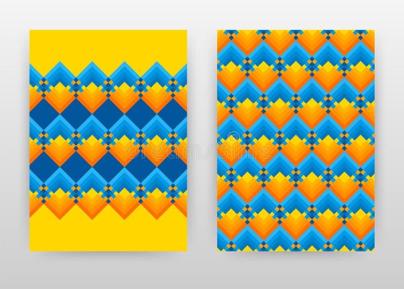 Informe anual azul amarillo-naranja geométrico del diseño de negocio de la textura, folleto, aviador, cartel Vector colorido geom libre illustration