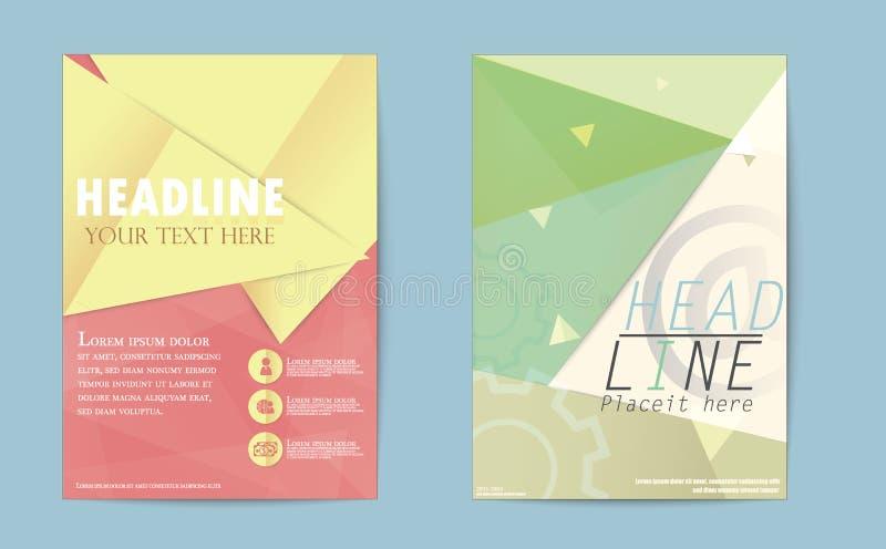 Informe anual d del triángulo del folleto del aviador del negocio abstracto del diseño ilustración del vector