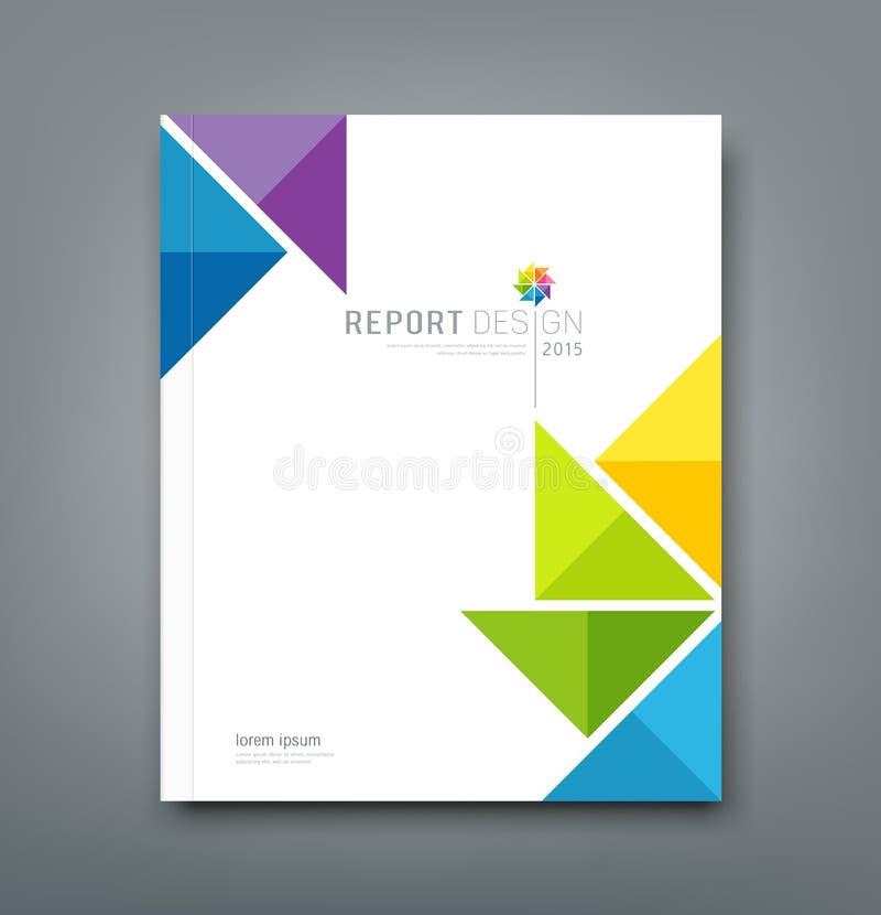 Informe anual da tampa, papel colorido do origâmi do moinho de vento ilustração do vetor