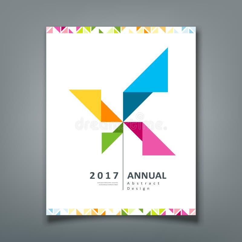 Informe anual da tampa, papel do origâmi da turbina ilustração do vetor