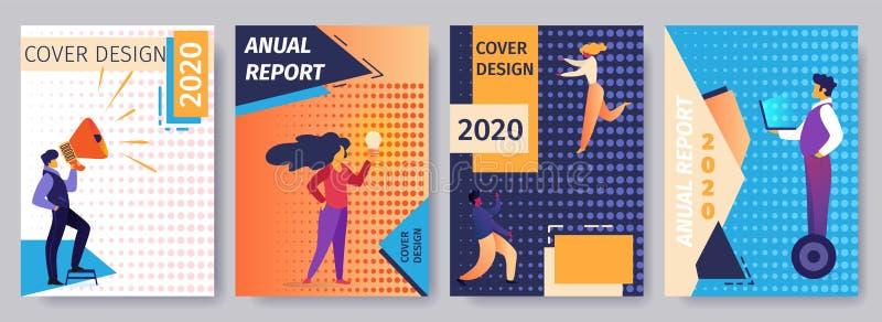 Informe anual del diseño 2020 de la cubierta fijado con la gente libre illustration