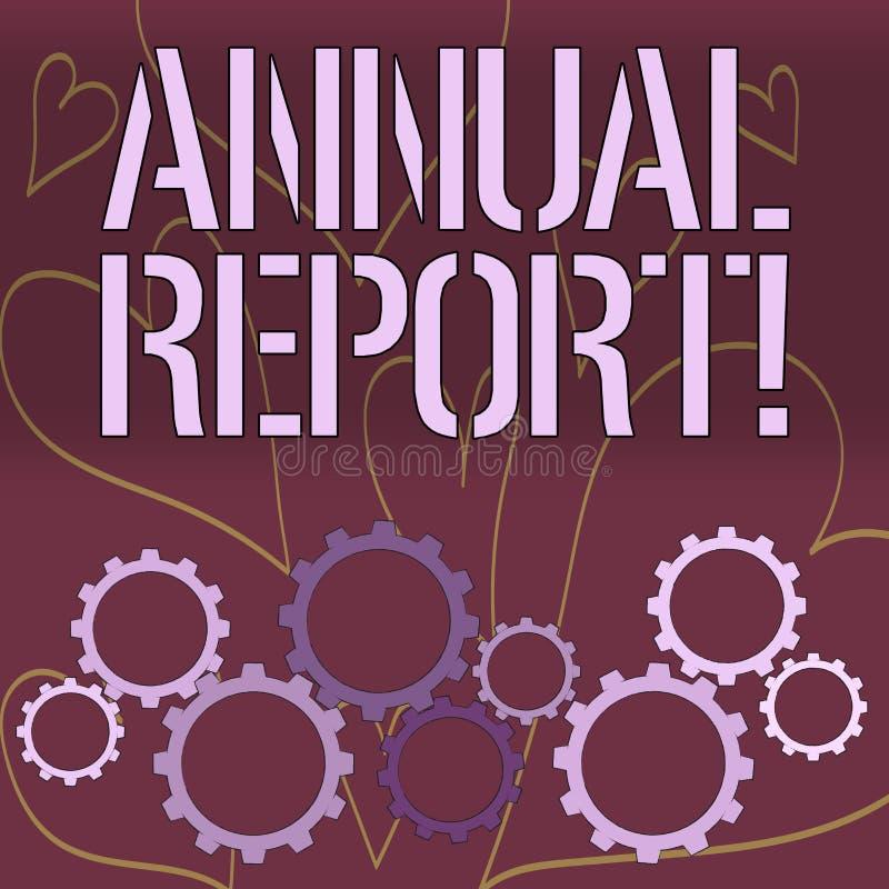 Informe anual del texto de la escritura de la palabra El concepto del negocio para incluye la información sobre qué se han sabido stock de ilustración