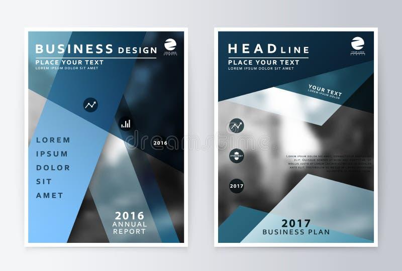 Informe anual e folheto Relatórios do molde do folheto ilustração stock