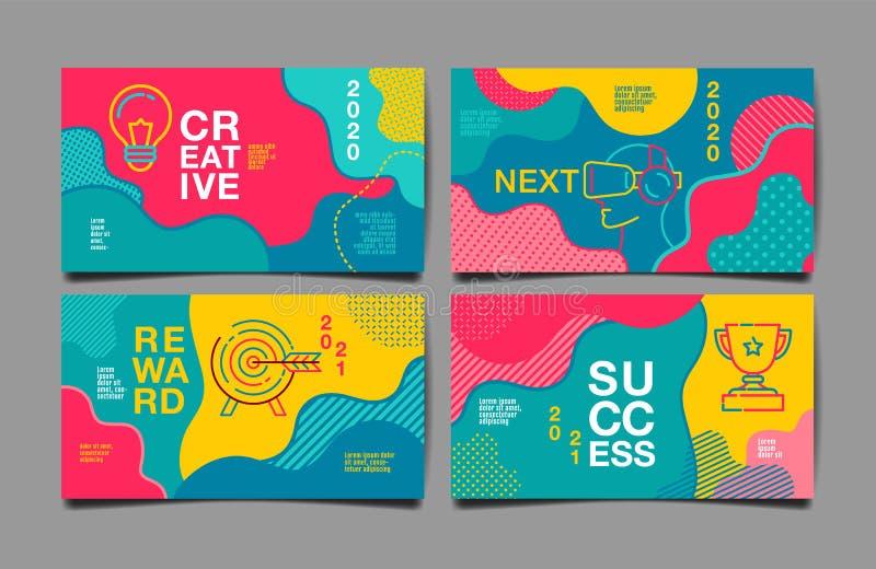 Informe anual 2020,2021, futuro, negocio, dise?o de la disposici?n de la plantilla, libro de la cubierta vector colorido, plano i stock de ilustración