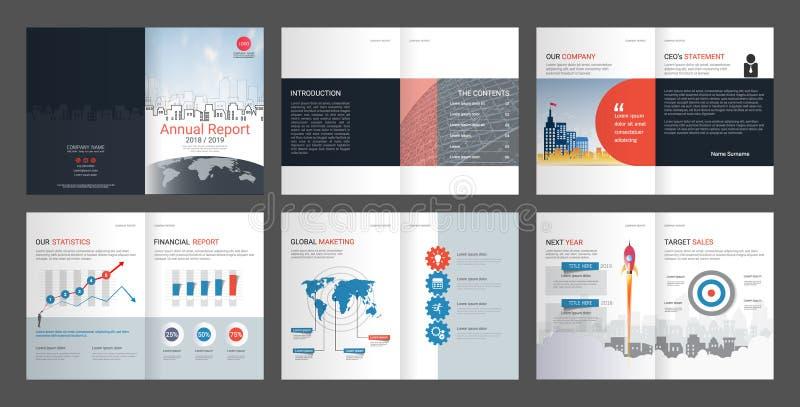 Informe anual, perfil de compañía, folleto de la agencia, plantilla multiusos de la presentación stock de ilustración