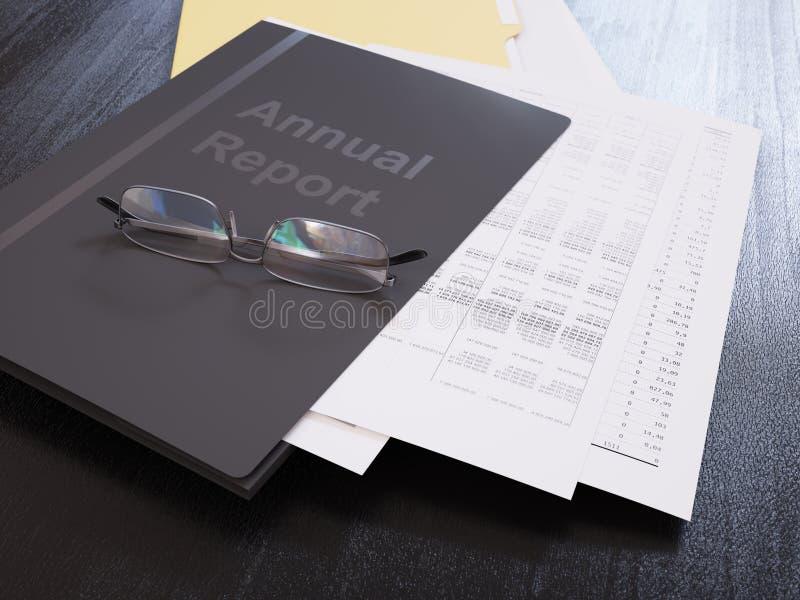 Informe anual sobre un primer de la tabla fotografía de archivo