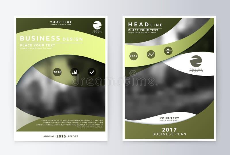 Informe anual y folleto Informes de la plantilla del folleto stock de ilustración