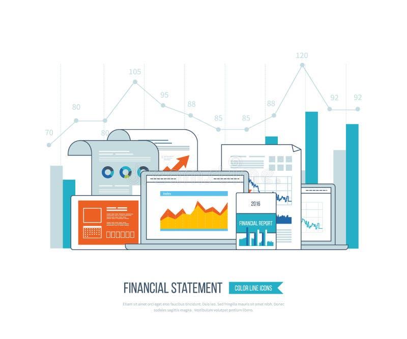 Informe, consulta, trabajo en equipo, gestión del proyecto y desarrollo financieros Negocio de la inversión ilustración del vector