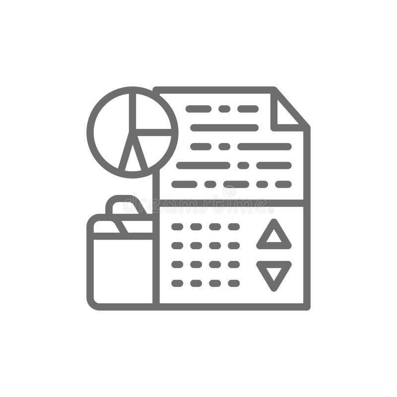 Informe de la carta de la acci?n de la compa??a, renta, pago de dividendo, gr?ficos del crecimiento del ?ndice, l?nea comercial e ilustración del vector