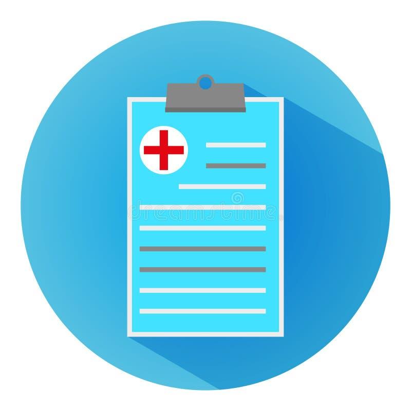 Informe de la clínica médica, icono azul plano moderno con la sombra larga fotos de archivo