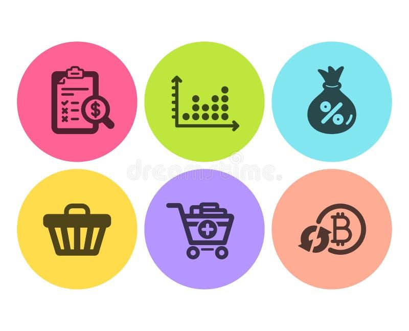 Informe de la contabilidad, diagrama del punto y sistema de los iconos del préstamo El carro de la tienda, añade productos y rest libre illustration