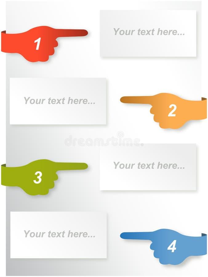 Informe de la cronología de Infographic con los fingeres acentuados libre illustration
