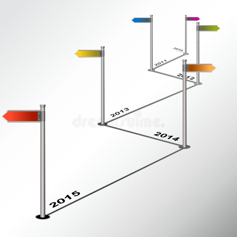 Informe de la cronología de Infographic con los postes indicadores coloreados libre illustration