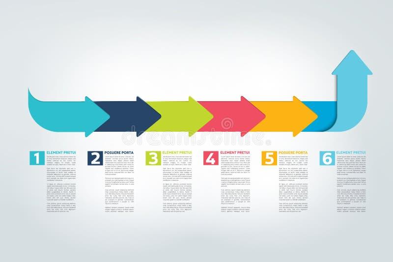 Informe de la cronología de Infographic, plantilla, carta, esquema stock de ilustración