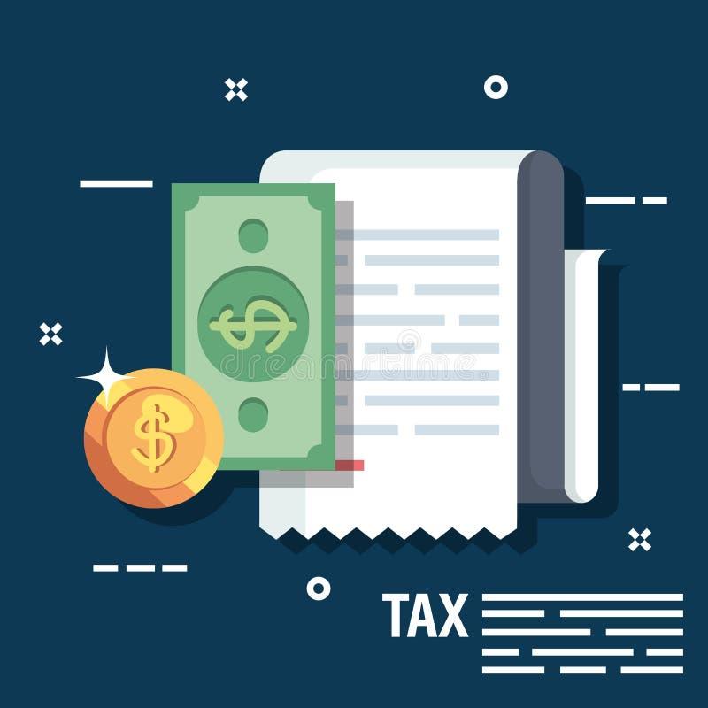 Informe de la factura con el dinero del biil y de la moneda ilustración del vector