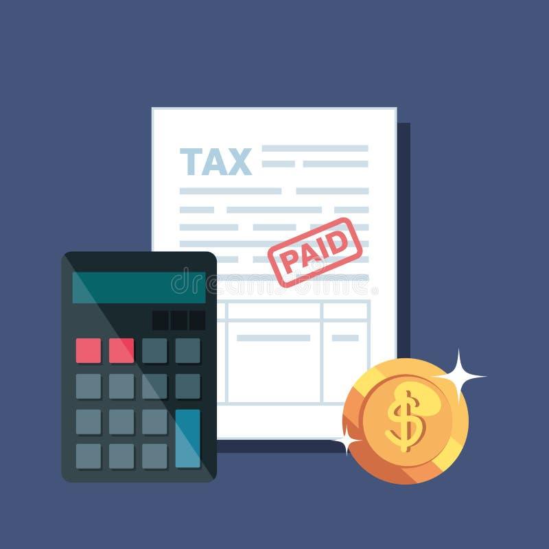 Informe de las finanzas de la factura con el calendario y la moneda libre illustration