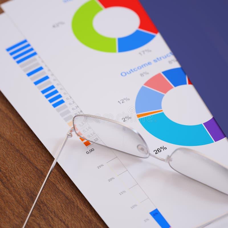 Informe de negocios con los gráficos y las figuras primer imagen de archivo libre de regalías