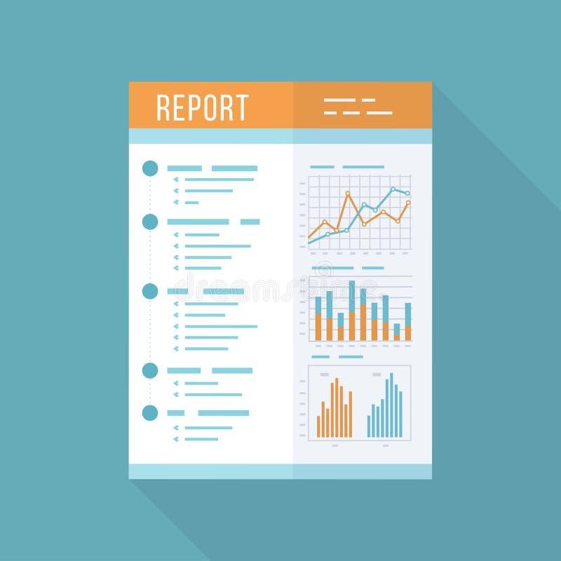 Informe de negocios, documento de papel Icono aislado con la sombra larga Gráficos de las cartas en un papel Contabilidad, anális ilustración del vector
