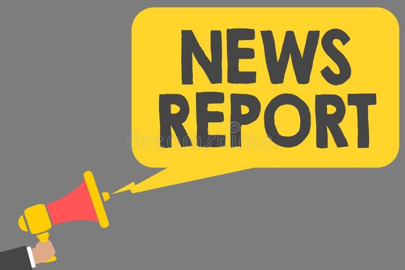 Informe de noticias del texto de la escritura de la palabra Concepto del negocio para la cuenta hablada o escrita algo que una ha ilustración del vector