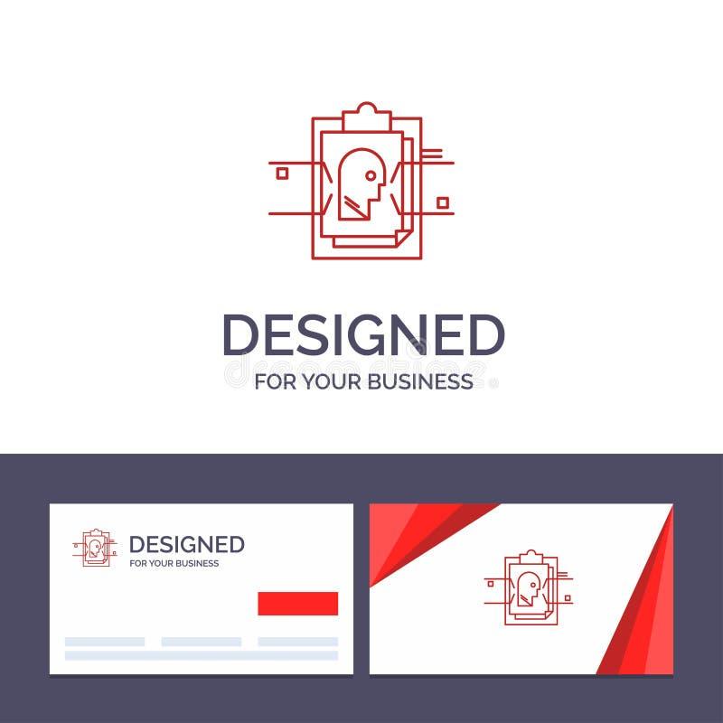 Informe de visita de la plantilla creativa de la tarjeta y del logotipo, tarjeta, fichero, identificación del usuario, ejemplo de ilustración del vector