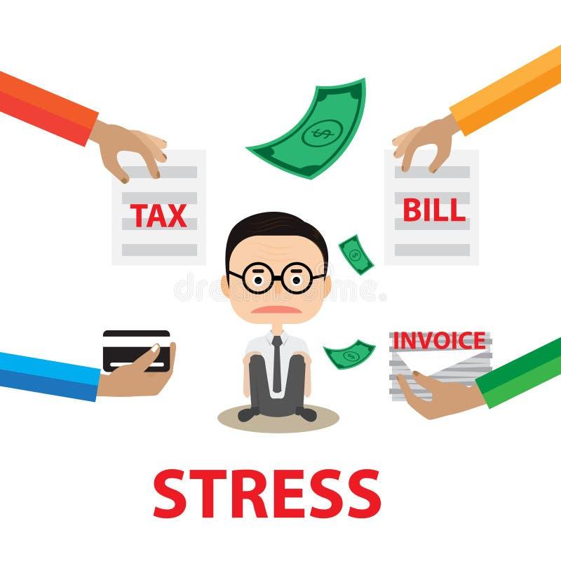 Informe del concepto de la tensión del negocio por la factura y la cuenta del impuesto del papel del control de la mano de With d stock de ilustración