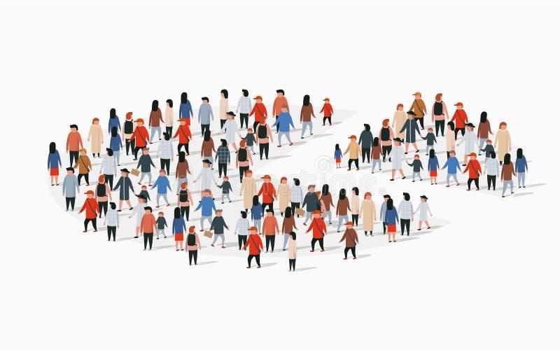 Informe del demographics de la población, gráfico de sectores integrado por gente libre illustration