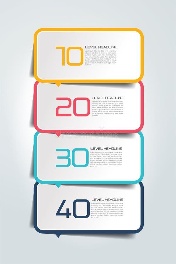 Informe del infographics de cinco pasos, plantilla, carta, esquema ilustración del vector