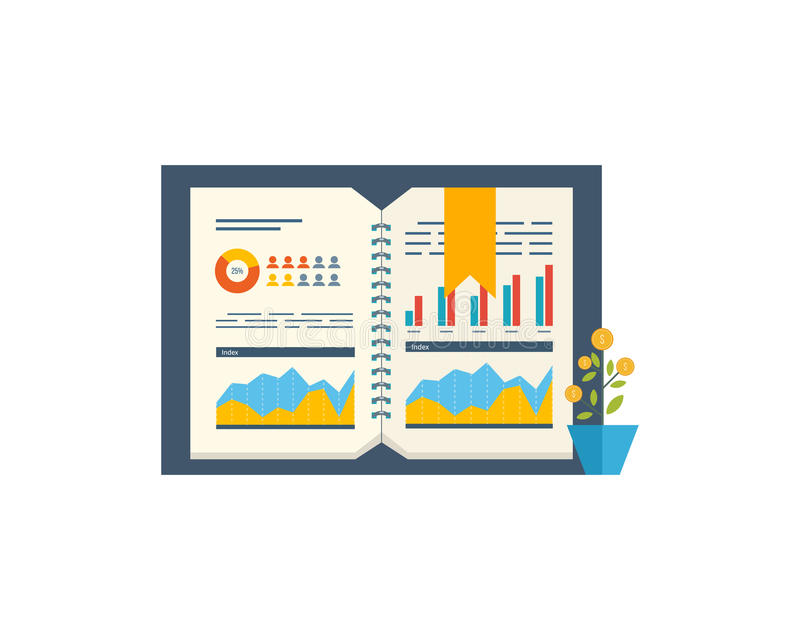 Informe financiero y estrategia financiera Crecimiento de la inversión Plantillas del diseño del folleto libre illustration