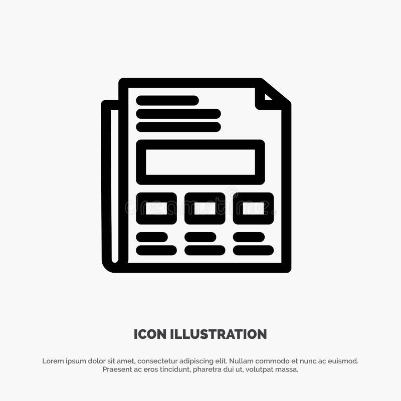 Informe, papel, hoja, línea vector de la presentación del icono ilustración del vector