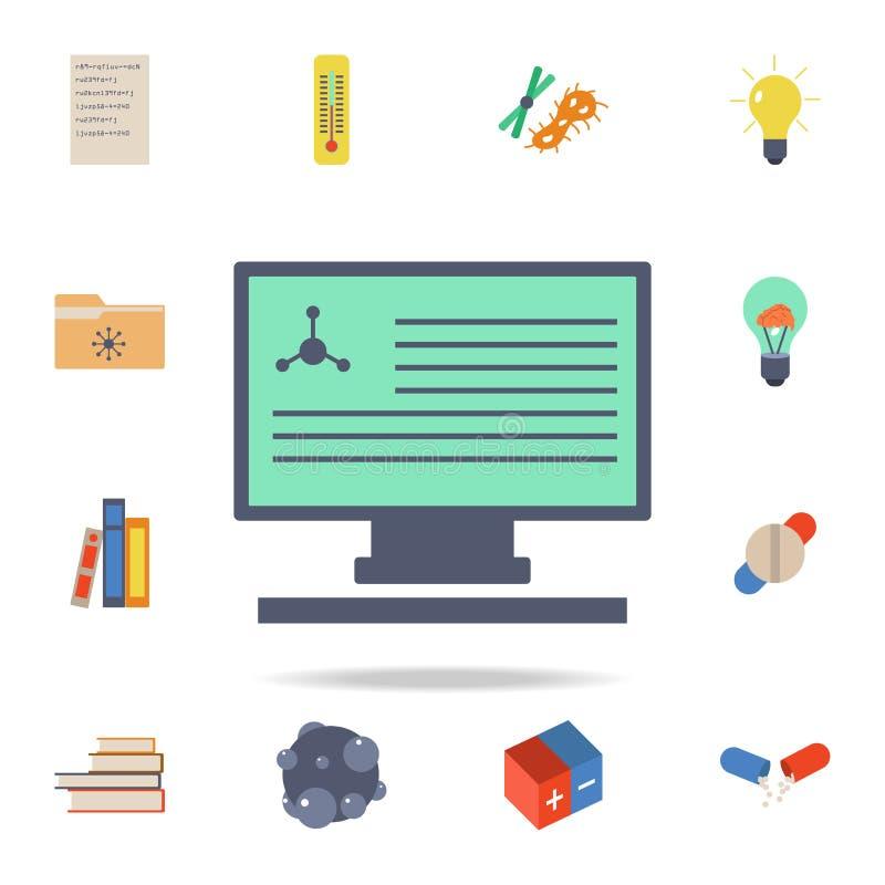 informe químico coloreado en icono del monitor Sistema detallado de iconos de la ciencia coloreada Diseño gráfico superior Uno de libre illustration