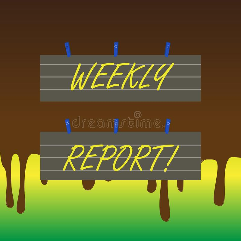 Informe semanal del texto de la escritura El significado del concepto incluye la información sobre qué se han convertido sabido d ilustración del vector