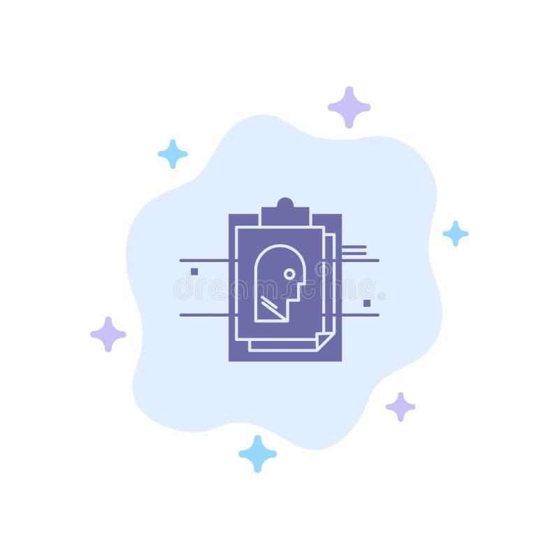 Informe, tarjeta, fichero, identificación del usuario, icono azul en fondo abstracto de la nube ilustración del vector