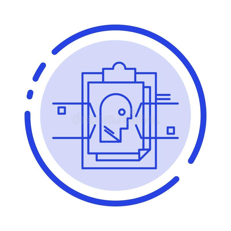 Informe, tarjeta, fichero, identificación del usuario, línea de puntos azul línea icono stock de ilustración
