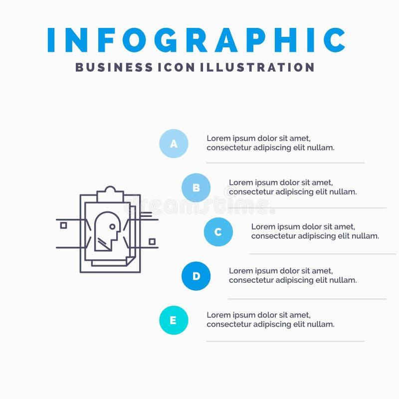 Informe, tarjeta, fichero, identificación del usuario, línea icono con el fondo del infographics de la presentación de 5 pasos stock de ilustración