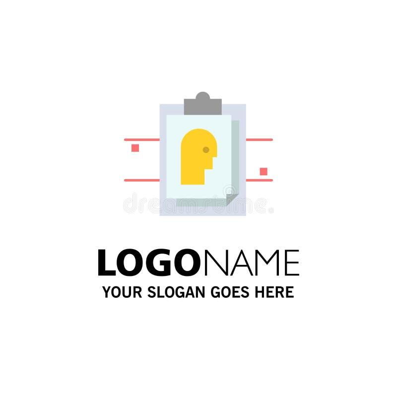 Informe, tarjeta, fichero, identificación del usuario, negocio Logo Template color plano stock de ilustración