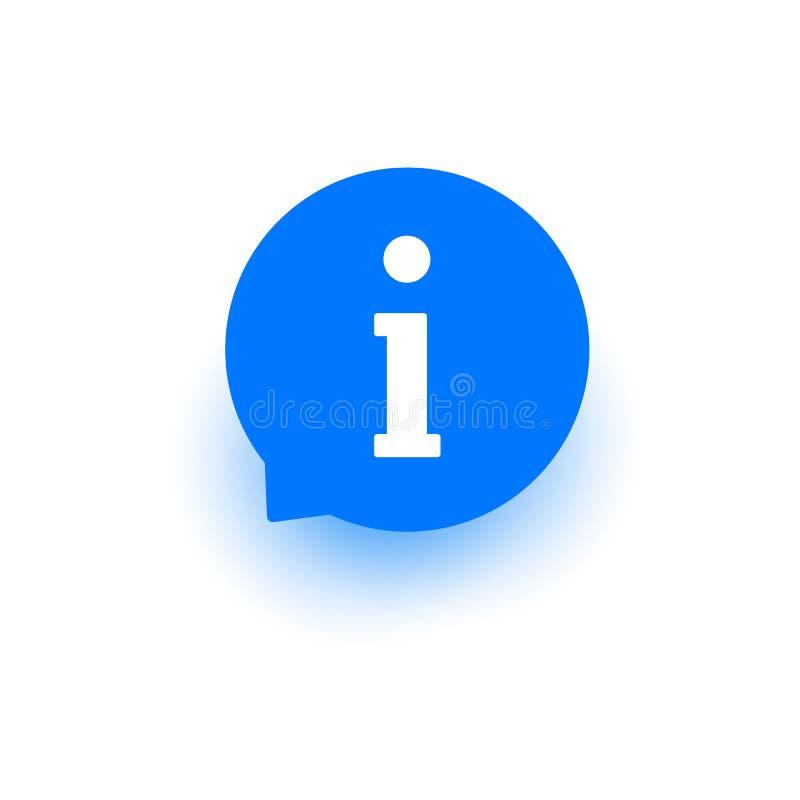 Informeer pictogram, vectorinformatieteken, symbool, hulpknoop, cirkel om de vlakke bel van de ontwerptoespraak voor Web, website vector illustratie