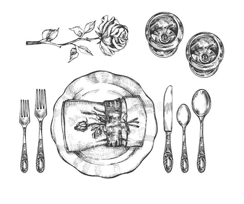 Informell bordsservisinställning för en uppsättning vektor illustrationer