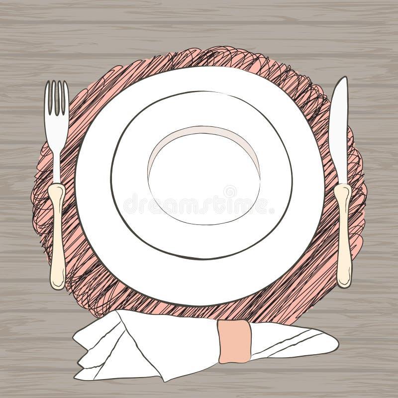 Informell inställning för vektortabell Bordsservis och ätaredskap är stock illustrationer