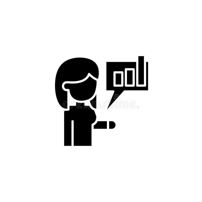 Informerend over verwezenlijkingen zwart pictogramconcept Informerend over verwezenlijkingen vlak vectorsymbool, teken, illustrat royalty-vrije illustratie