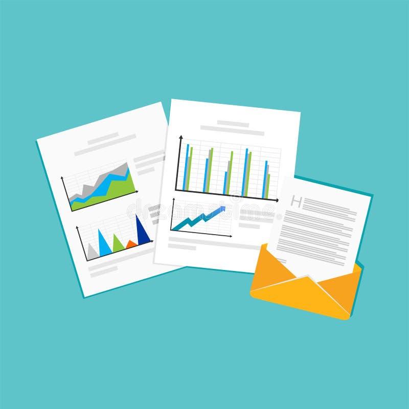 Informes financieros Símbolo de los documentos de negocio stock de ilustración
