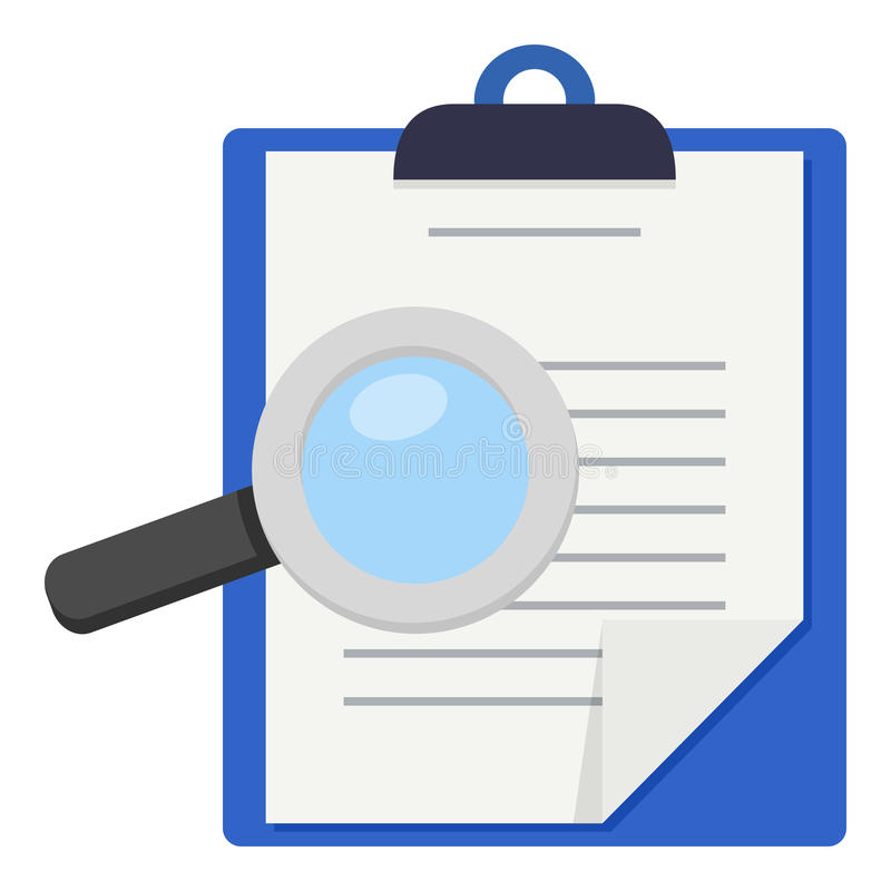 Informes médicos & ícone da lupa ilustração stock