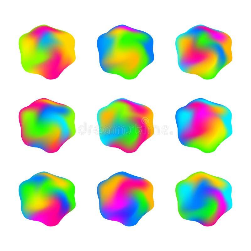 Informes multicolores brillantes del arco iris abstracto se gelifican diseño líquido stock de ilustración