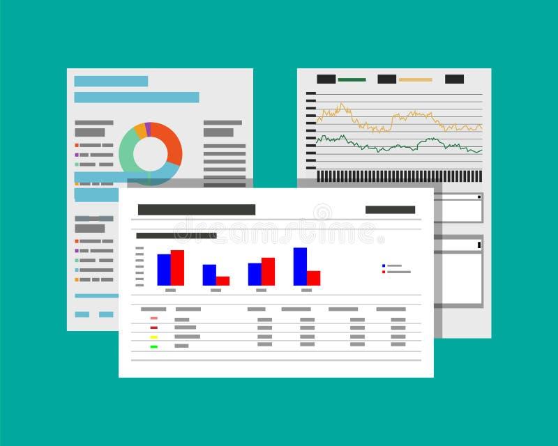 Informes y documentos financieros ilustración del vector