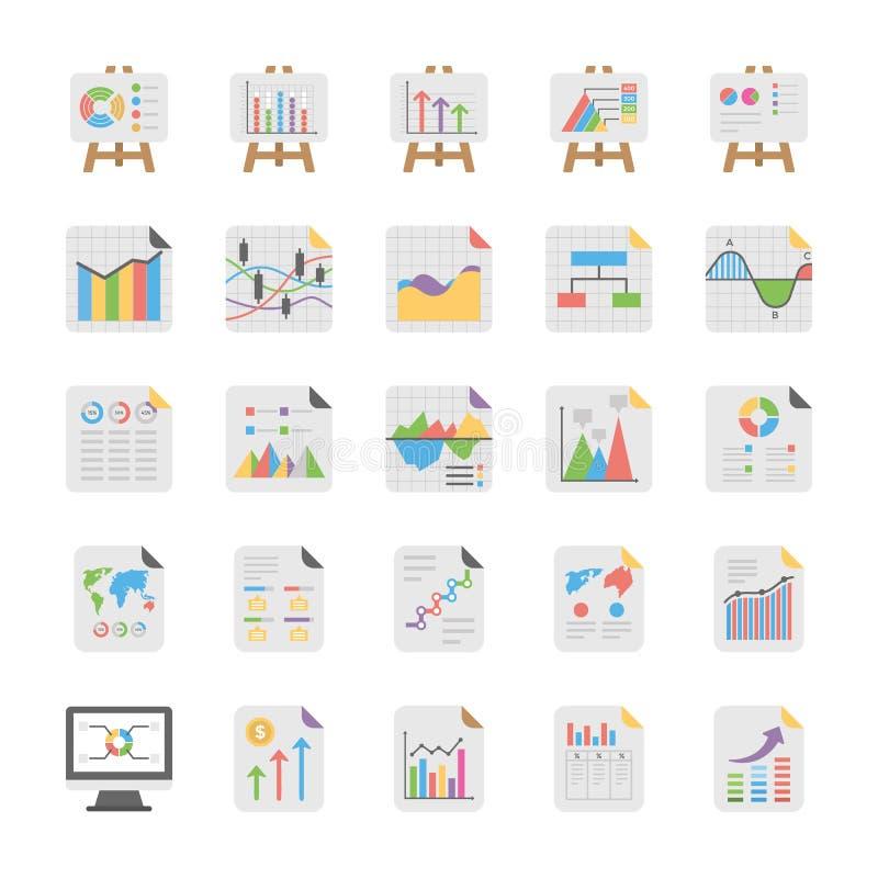 Informes y paquete de los iconos de los diagramas stock de ilustración