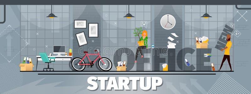 Informierender Plakat-Aufschrift-Büro-Start vektor abbildung