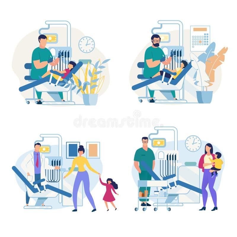 Informierendes Plakat-pädiatrische zahnmedizinische Klinik lizenzfreie abbildung