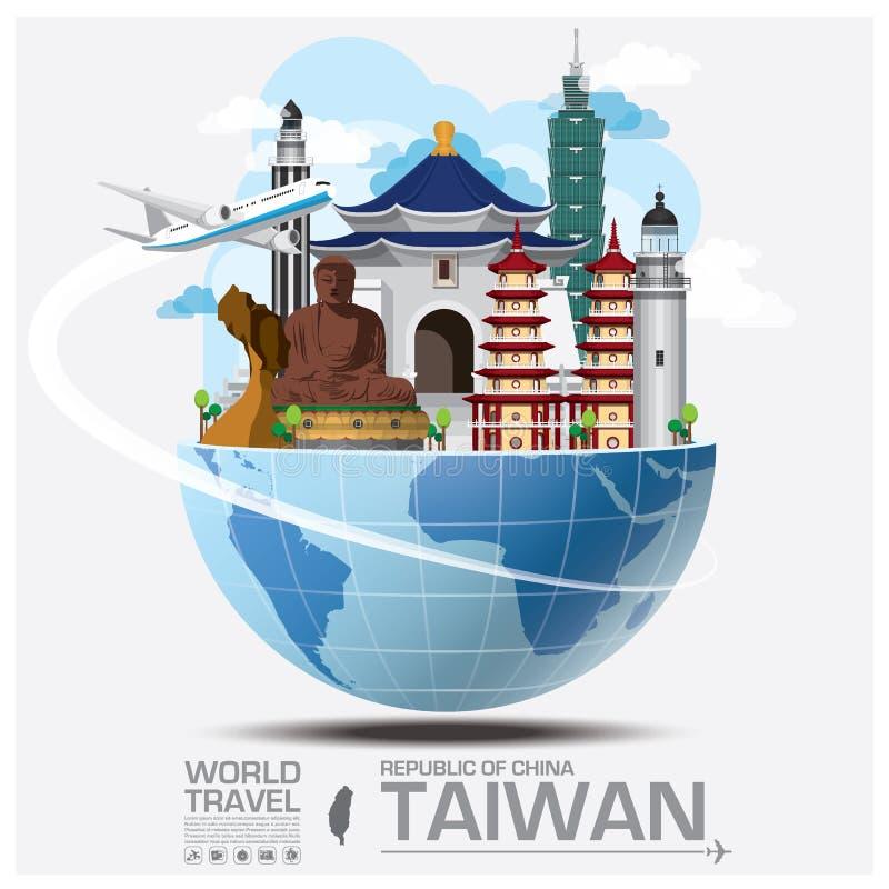 Infos globales de voyage et de voyage de point de repère de Taïwan République de Chine illustration libre de droits