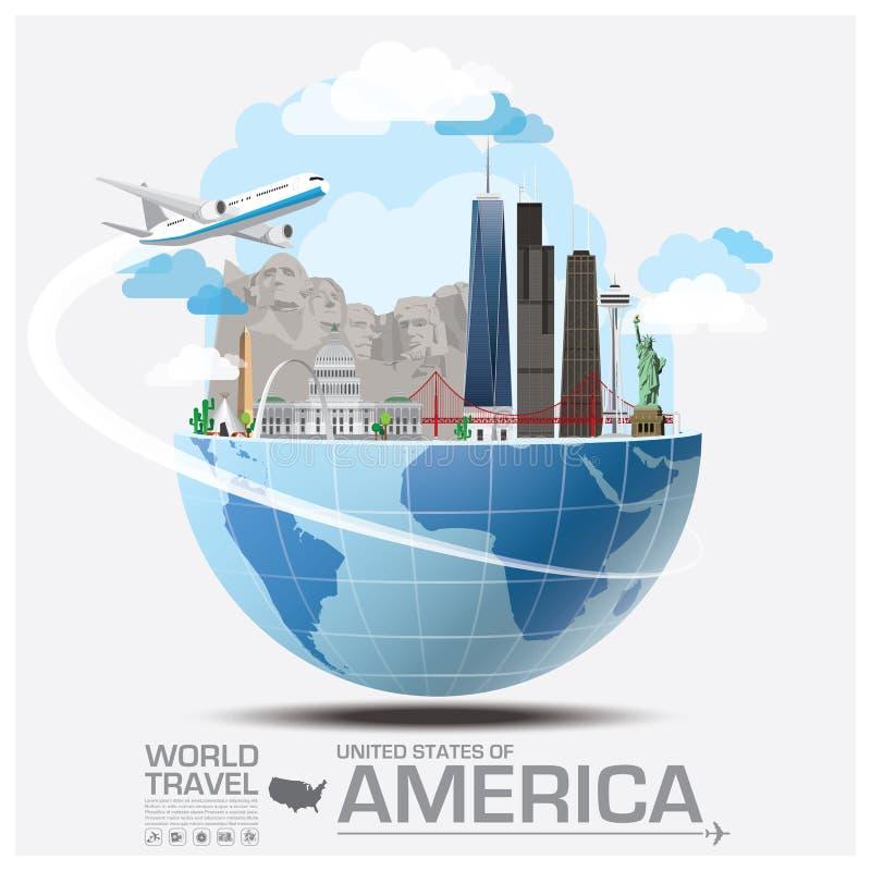 Infos globales de voyage et de voyage de point de repère des Etats-Unis d'Amérique illustration libre de droits