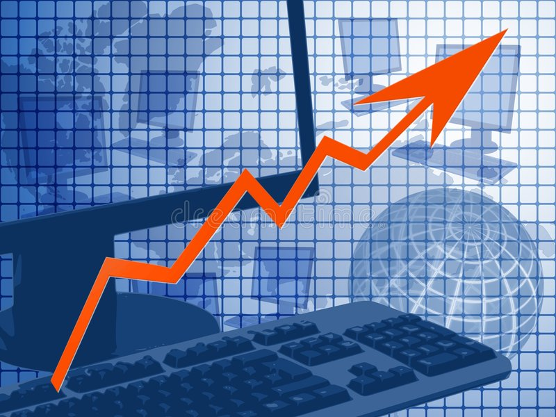 Infotechnology business. Graph depicting successful worldwide infotechnology business vector illustration